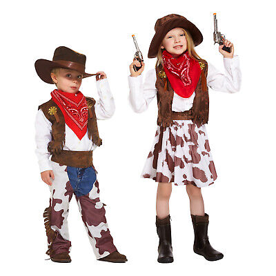 Childrens Cowboy & Cowgirl Fancy Dress Costume - For Kid Girls & Boys 4-12 Years - Cowgirl Dress For Girls