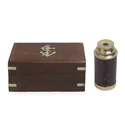 Handcrafted Fully Functional Telescope with Leather Stitched and Wooden Box 6