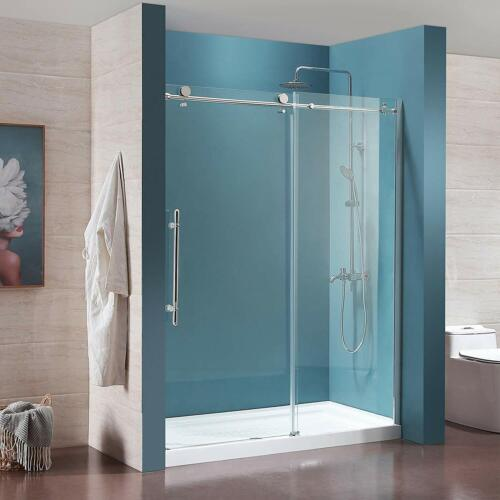 "62"" x 72"" Framed Clear Glass Bath Tub Sliding Shower Door Ch"