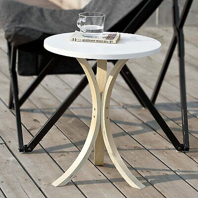 Outdoor Side Table White Round Top Solid Wood Legs Garden Patio Plant Stand