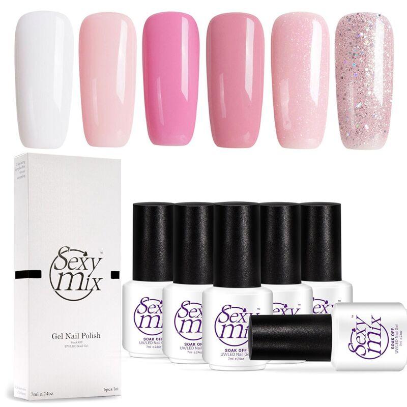 Gel Nail Polish , Soak Off UV Pink Kit Required Gel Base Top