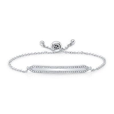 14k Oro Blanco Diamante Id Pulsera de Barra Deslizador Bolo Cadena Mujer...