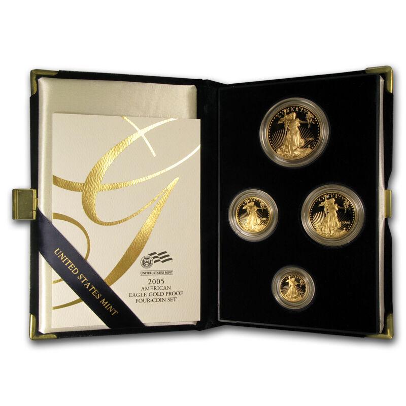 2005-w 4-coin Proof Gold American Eagle Set (w/box & Coa) - Sku #7345