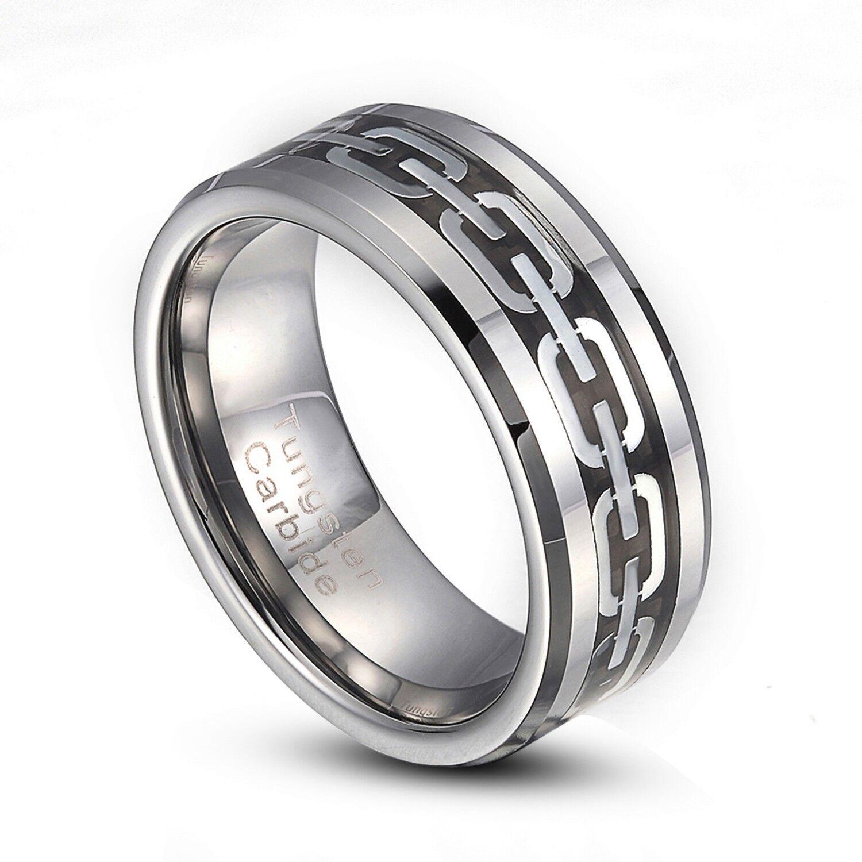 tungsten carbide 8mm silver chain link wedding band ring