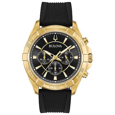 Bulova Men's Quartz Chronograph Gold Tone Black Multi Dial 4