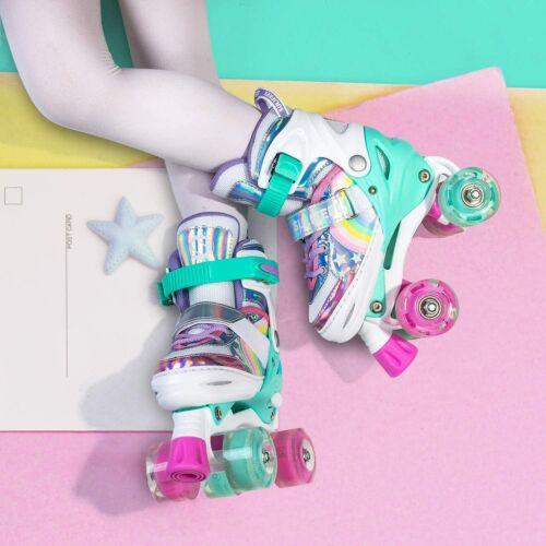 Sulifeel Rainbow Unicorn 4 Size Adjustable Light up Roller Skates for Girls Boys