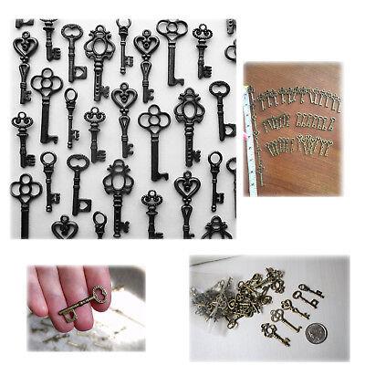 - Lot of 48 Vintage Style Antique Skeleton Furniture Cabinet Old Lock Keys Black