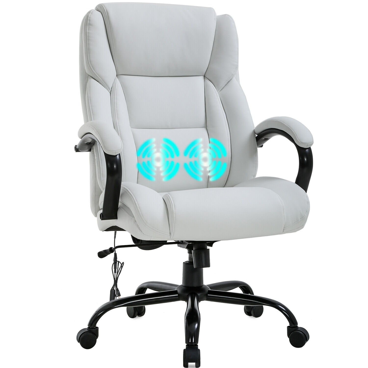 Big and Tall Office Chair 500lb Wide Seat Desk Chair with Lumbar Support Armrest 2
