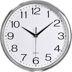 12 Silent Non-Ticking Wall Clock Numeral Quartz Round Wall Clock Silver Frame