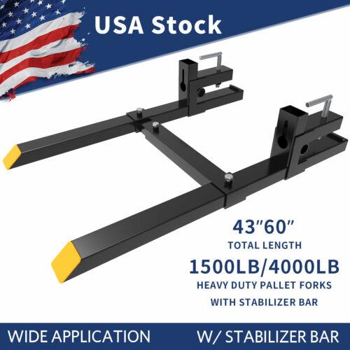 4000lb/1500lb Bucket Pallet Forks Clamp On Skid Steer Loader w/ Stabilizer Bar