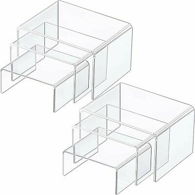 6 Pc Small Clear Acrylic Jewelry Display Risers Showcase Fixtures Bakery
