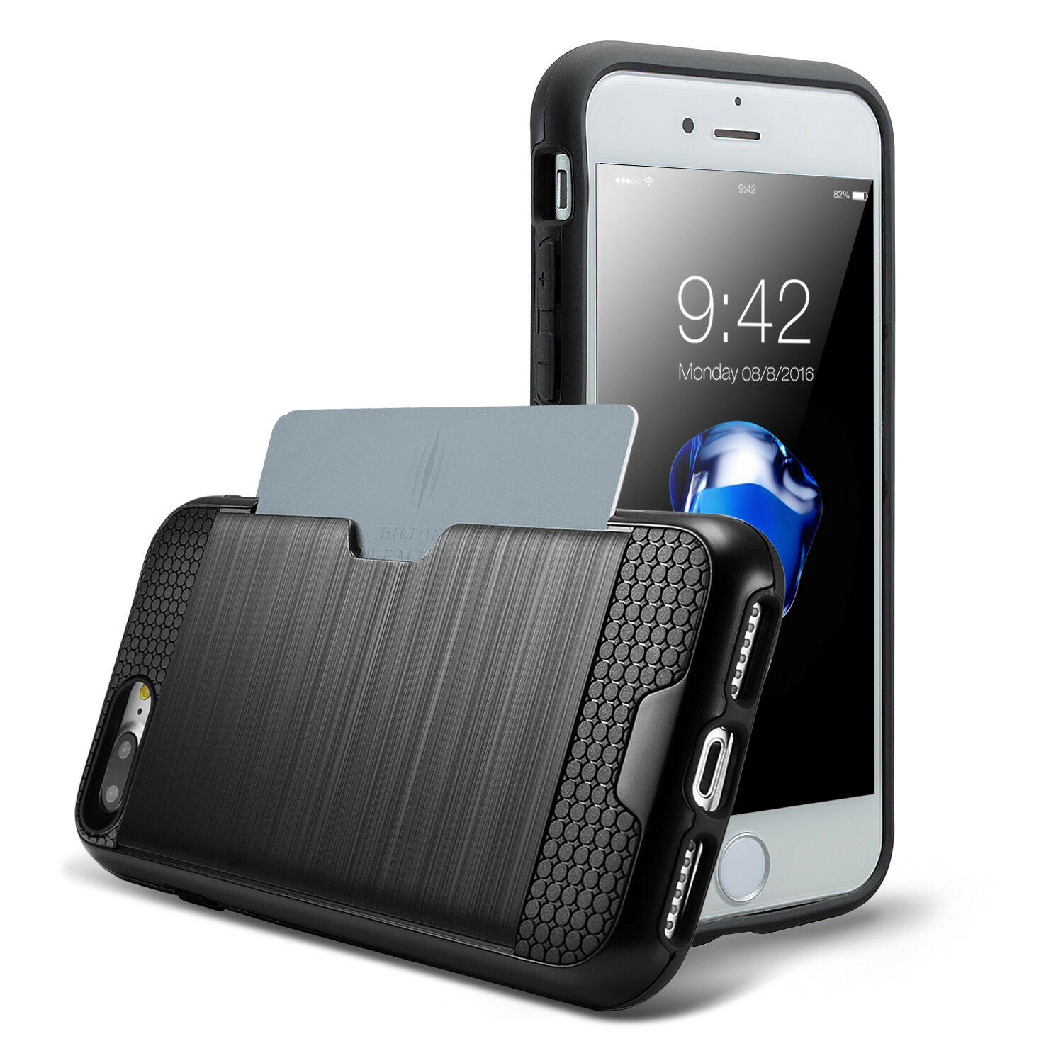 For iPhone 8 7 Plus Case Credit Card Wallet Shockproof Bumper Hard Cover