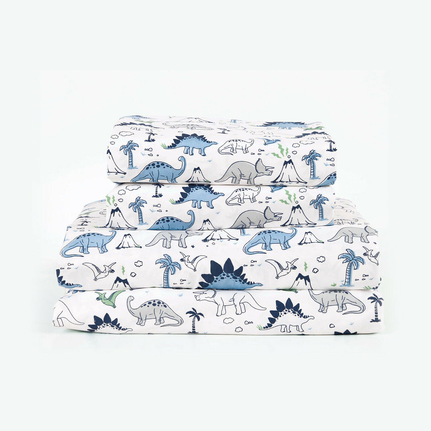Twin, Full or Queen Dinosaur Microfiber Bed Sheet Set Deep Pocket, Blue and Grey Bedding