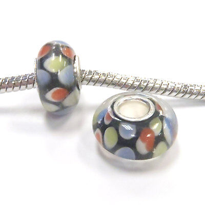 3 Beads - Multi Color Dots Lampwork Glass Silver European Bead Charm E0991 Dots Lampwork Glass Bead