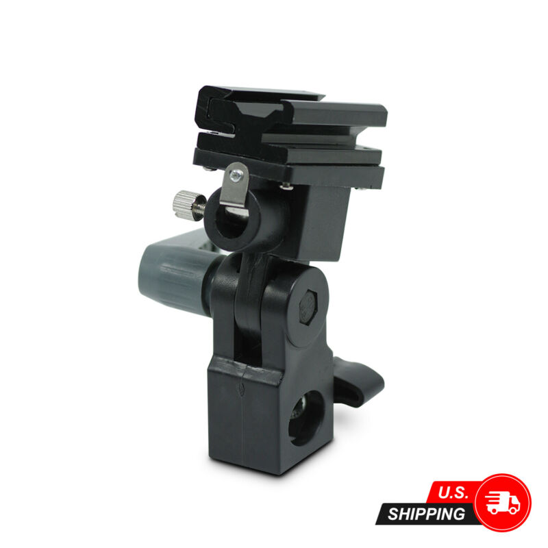 Swivel Light Stand Bracket B - Flash Hot Shoe Mount Adapter, Umbrella Holder
