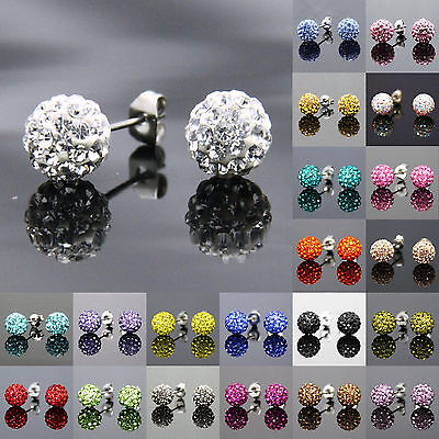 Daobg-stable 12 Colors 6mm 8mm 10mm Round Crystal Disco Ball Beads Stud Earrings (Colored Disco Ball)
