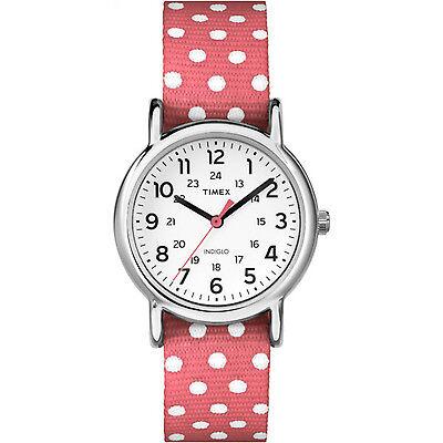 Timex Women's Weekender Polka Dots | Pink Strap Silver-Tone Case Watch TW2P65600