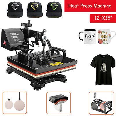 5 In1 Combo Heat Press Transfer Printing Machine Diy T-shirt Hat Mug Plate 12x15