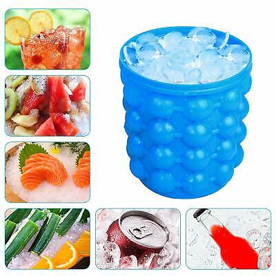 New Large Ice Cube Maker Genie Space Saving Ice Ball Maker Silicone Ice Bucket
