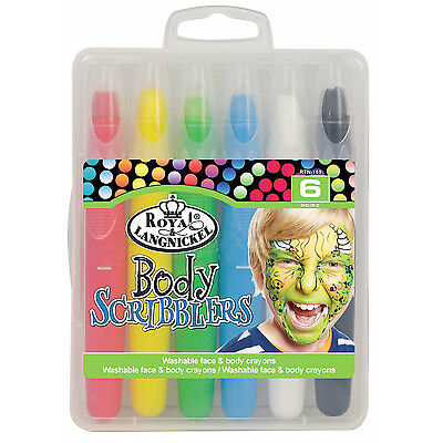 Childrens Scribblers x6 Bright Colours Washable Face & Body Painting - Bodypainting Kostüm