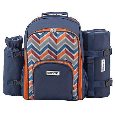 Picknickrucksack blau Rucksack 11 Teile Zubehör für 2 Personen Picknickdecke Blau 11