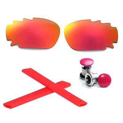 4d5990734 Walleva Polarized Fire Red Vented Lenses + Earsocks + Bolts For Oakley  Jawbone