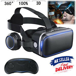 """UK 360° VR Headset Goggles 3D Glasses Virtual Reality Headset for 4.7-6.5"""" Phone"""