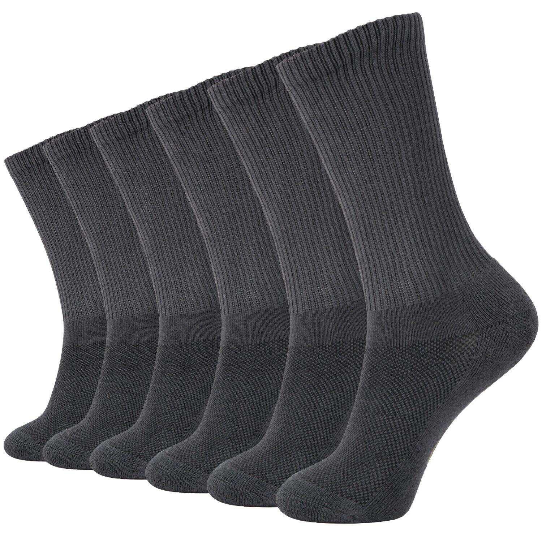 MD 6 Pack Soft Men Bamboo Crew Socks Odor Resistant Cushione