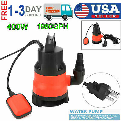 1/2 HP 1980GPH Heavy Duty Submersible Water Pump Cleaning/Di
