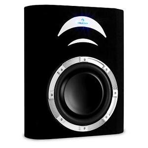 caisson de basses voiture subwoofer plat 25cm auto sono 500w effet lumineux led ebay. Black Bedroom Furniture Sets. Home Design Ideas