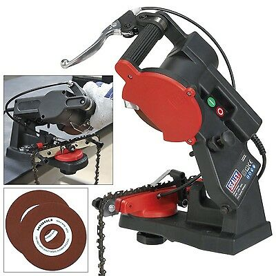 SEALEY ELECTRIC CHAINSAW CHAIN SAW BLADE SHARPENER c/w FREE GRINDING WHEEL DISC!