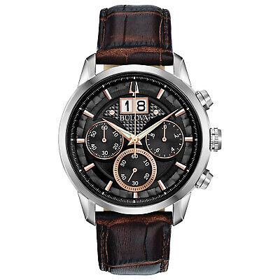 Bulova Sutton Men's Quartz Chronograph Date Display Black Dial 44mm Watch 96B311