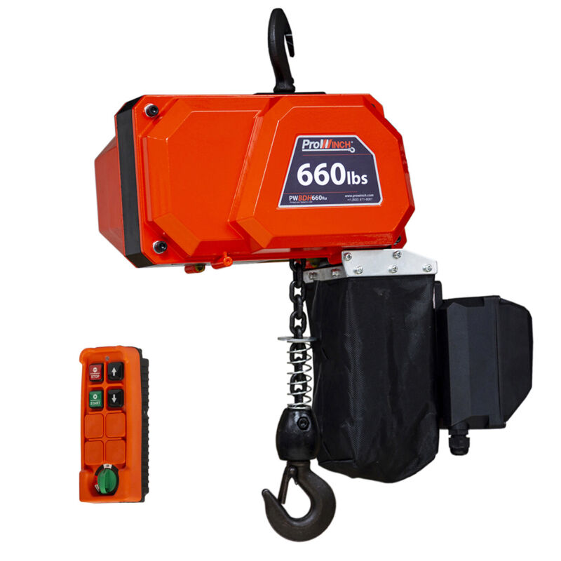 Prowinch 660 lbs Mini Electric Chain Hoist 300 kg - G80 Grade Chain 10 ft lift h