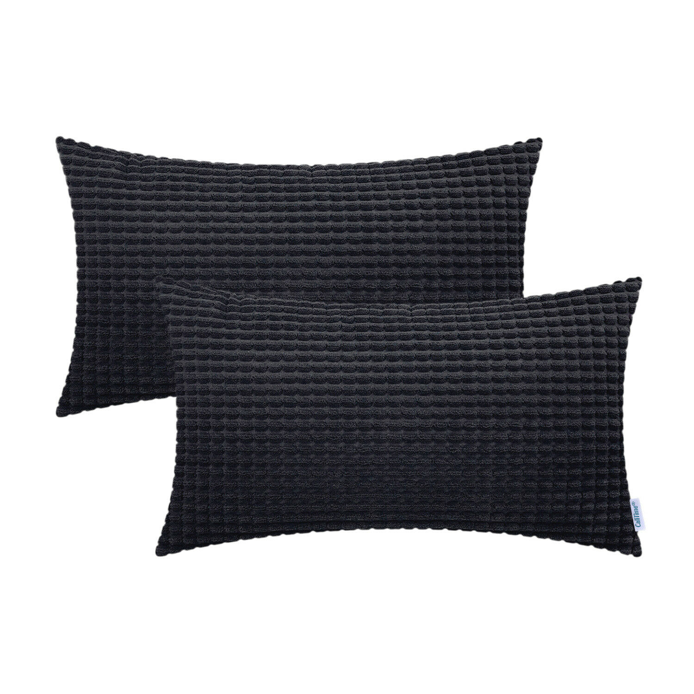 2Pcs CaliTime Black Bolster Pillow Covers Corn Soft Corduroy