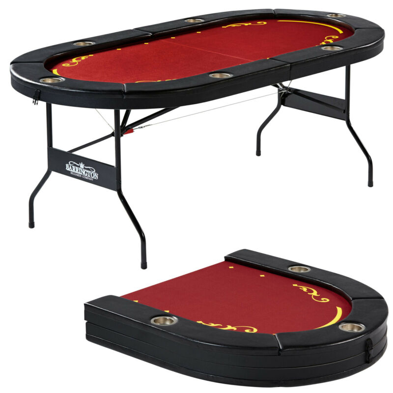 Foldable Poker Table Game Night Texas Hold Em Padded Rails Cup Holders 6 Player