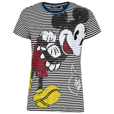 Desigual Damen T-Shirt Shirt Top Ringelshirt Mickey Mouse Comic gestreift
