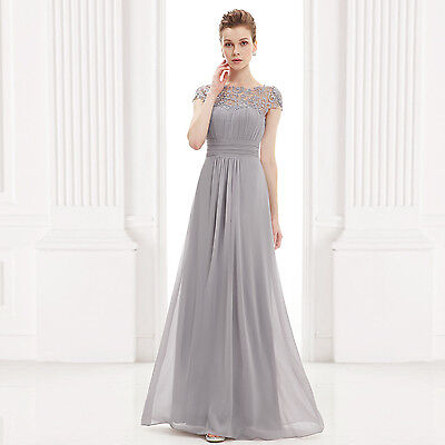 Chiffon Ball Gown Evning Formal Bridal Lace Bridesmaid Party Dresses US Size 12