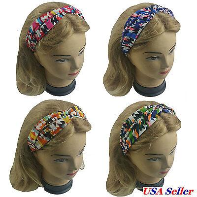 4 PCS  Twisted Turban Head Wrap Elastic Headband Women Girl Aztec Style Print
