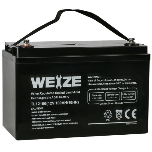 Weize 12V 100AH Deep Cycle AGM SLA Battery for RV Solar Syst
