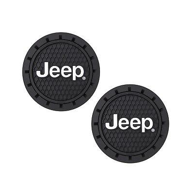 Item Holder - Jeep Logo Auto Cup Holder Coaster 2 PC Set Item
