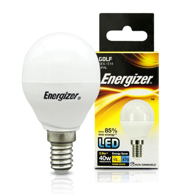 2 x Energizer 5.9w=40w LED SES E14 Small Screw Cap Energy Saving Light Golf Bulb