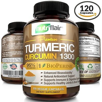☀ Turmeric Curcumin with Bioperine Black Pepper 95% Curcuminoids 1300mg 120 caps