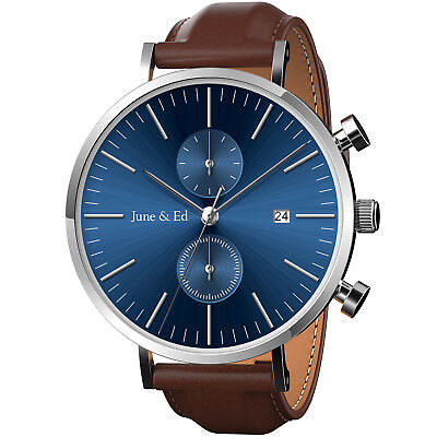June & Ed Quartz Stainless Steel Mens Gents Watch Sapphire Crystal Dial Window