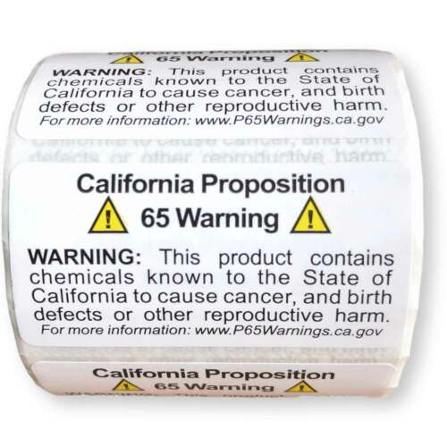Prop 65 California Warning Labels 500 Count Roll   1 by 2 Inch Size  