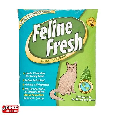 Low Cost Feline Fresh Natural Pine Cat Litter Longer Lasting Than Clay 20 LB