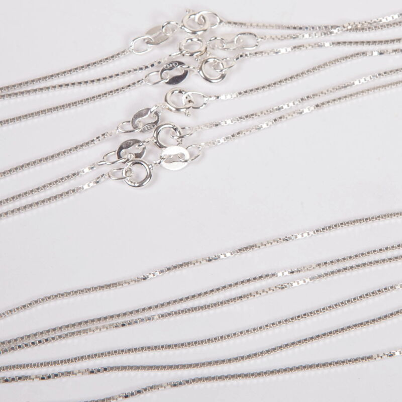 """50 pieces 18"""" 45cm Sterling Silver 925 Italian 1mm BOX CHAIN Necklaces WHOLESALE"""