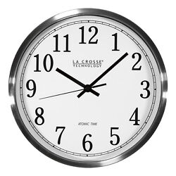 WT-3126B La Crosse Technology 12 Stainless Steel Frame Atomic Analog Wall Clock