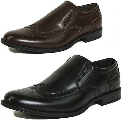 Alpine Swiss Basel Men's Wing Tip Dress Shoes Brogue Medallion Slip On Loafers