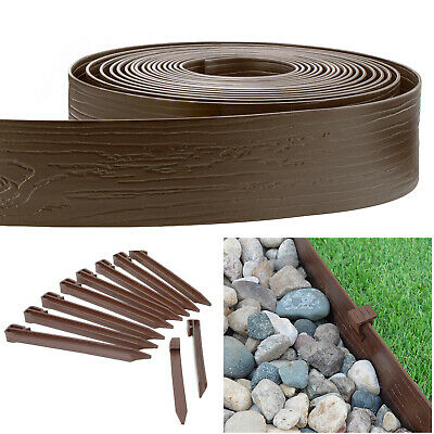Brown 4-in. x 40-ft. Landscape Lawn Edging Wood Grain Coil Kit with Stakes Edging & Borders
