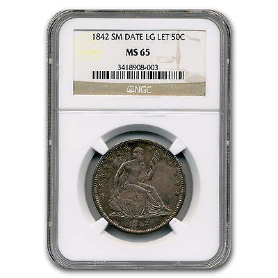 Click now to see the BUY IT NOW Price! 1842 LIBERTY SEATED HALF DOLLAR MS 65 NGC SMALL DATE   SKU 103197